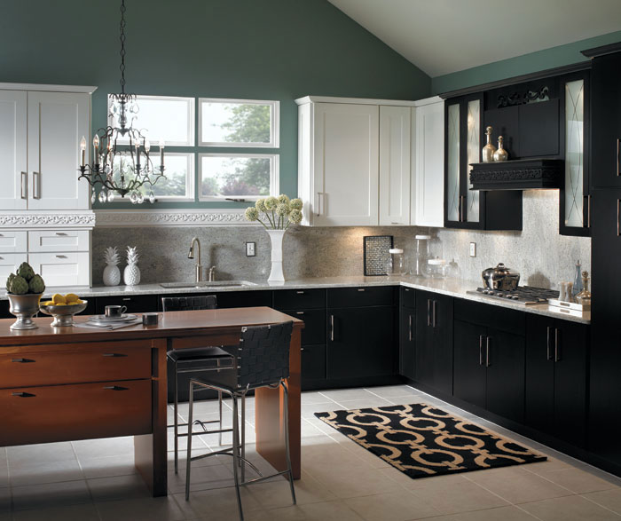 Black and White Contemporary Schrock Kitchen Cabinets